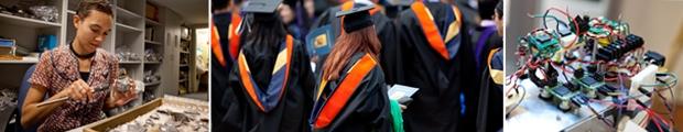 Students researching, graduating; Circuit board